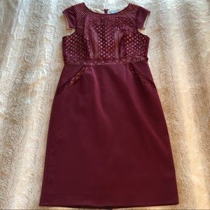 Antonio Melani | Burgundy Nude Lace Overlay Dress